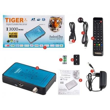 Android streaming box Satellite Receiver dvb s2 Tiger I3000
