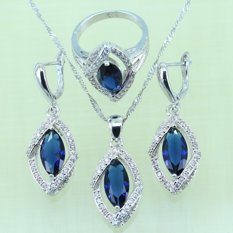 49a879f7b Horse Eye Blue Rhinestone White Cubic Zircon Silver color Bracelets Jewelry  Sets For Women Earrings/Ring/Necklace/Pendant-in Bridal Jewelry Sets from  ...