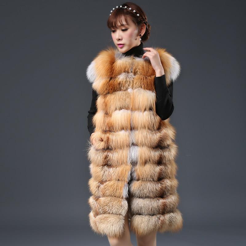 Renard Gilet Long 2016 Femmes Gilets Véritable De Colete Fourrure Naturelle Vestes Russe color Feminino D'hiver Color 1 2 Manteaux Manches Inverno Sans OPZiuXk