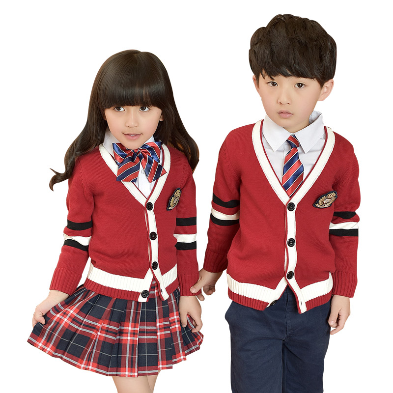2018 Fashion Children Student School Uniforms Set Suit V-neck Girls Boys Cotton Sweater Shirt Skirt Pants Tie Set Uniforms 2-10T