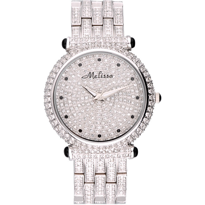 Luxury Melissa Lady Women s Watch Elegant Full Rhinestone CZ Fashion Large Hours Bracelet Crystal Clock
