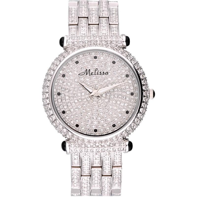 все цены на Luxury Melissa Lady Women's Watch Elegant Full Rhinestone CZ Fashion Large Hours Bracelet Crystal Clock Girl Birthday Gift Box