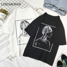LOIEJOHHI Short Sleeve T-Shirt New Arrivals summer Loose Women's T-shirt Cartoon printing Simple Casual Loose Women's tops KM716