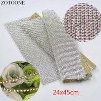 ZOTOONE SS8 24X45CM Cut Root Hot Fix Rhinestone Crystal AB Chain Resin Gliter Apparel Wedding Dress