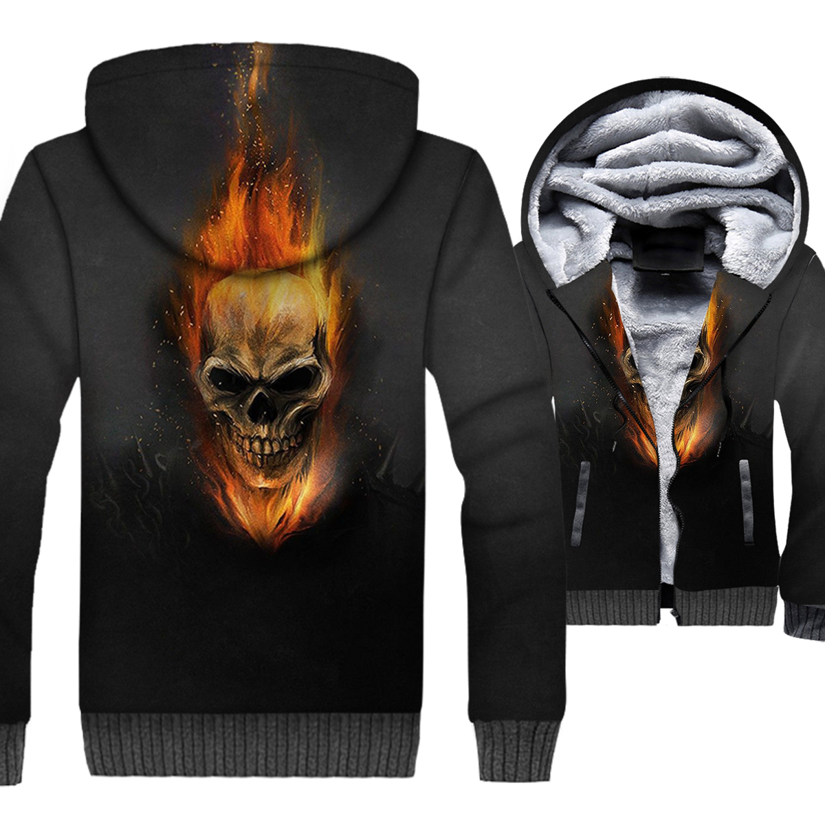 Ghost Rider Skull 3D Print Hoodie Men Hip Hop Hooded Sweatshirt Winter Thick Fleece Warm Zip up Coat Swag Gothic Skeleton Jacket
