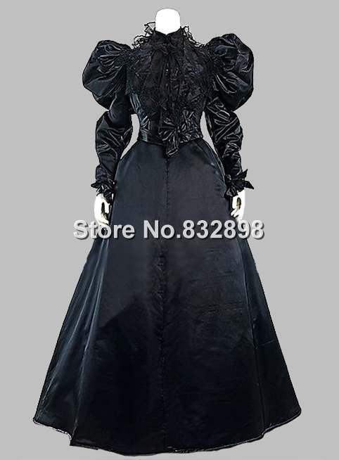 Gothic Black Silk-like Victorian 1870/90s Era Dress