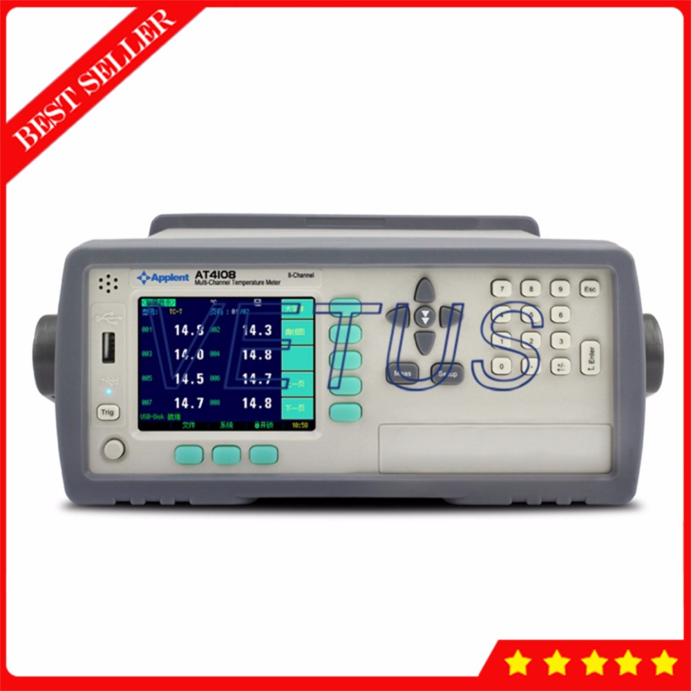 200C 1300C AT4108 Multi Channel Digital Temperature Meter Gauge with K T J Type RS232C USB interface Thermocouple Thermometer