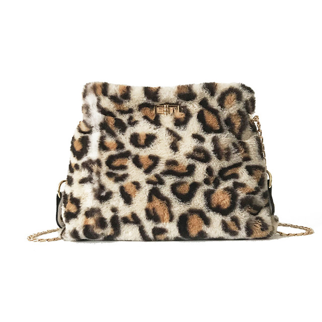 OCARDIAN Shoulder Bag Retro Chain Single Shoulder Bag Wild Plush Messenger  Bags Leopard Handbag For Girl dcc53fc1403bf