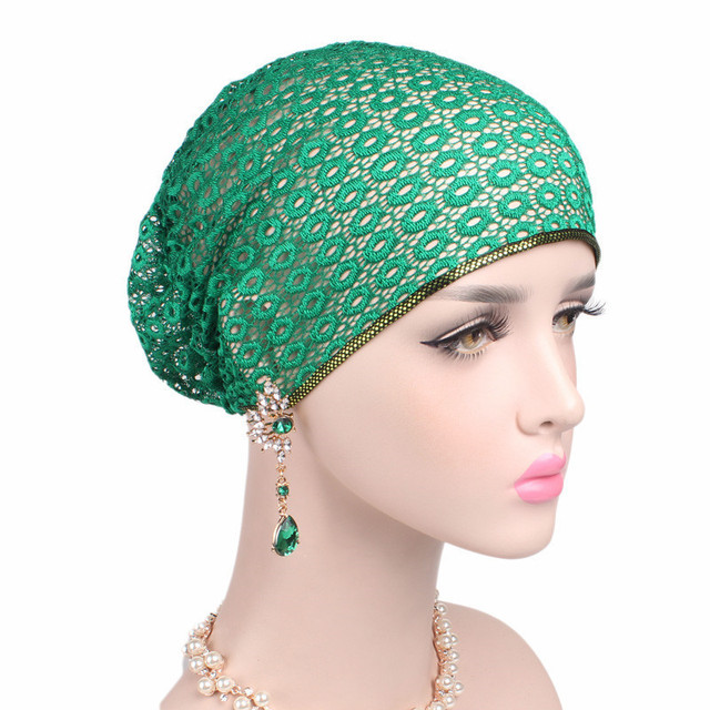 7b9f96abdde30 Women Fashion New Lace Scarf Caps Muslim Cap Turban Chemo Beanie Hat Women  Hair Accessories Lady