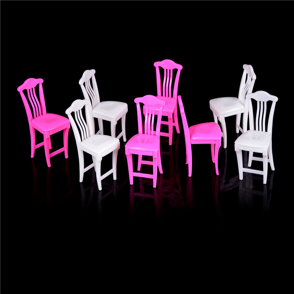 4pcs Pink Nursery Baby High Chair Table For Doll\u0027s House Furniture Play Toys Dollhouse Toy