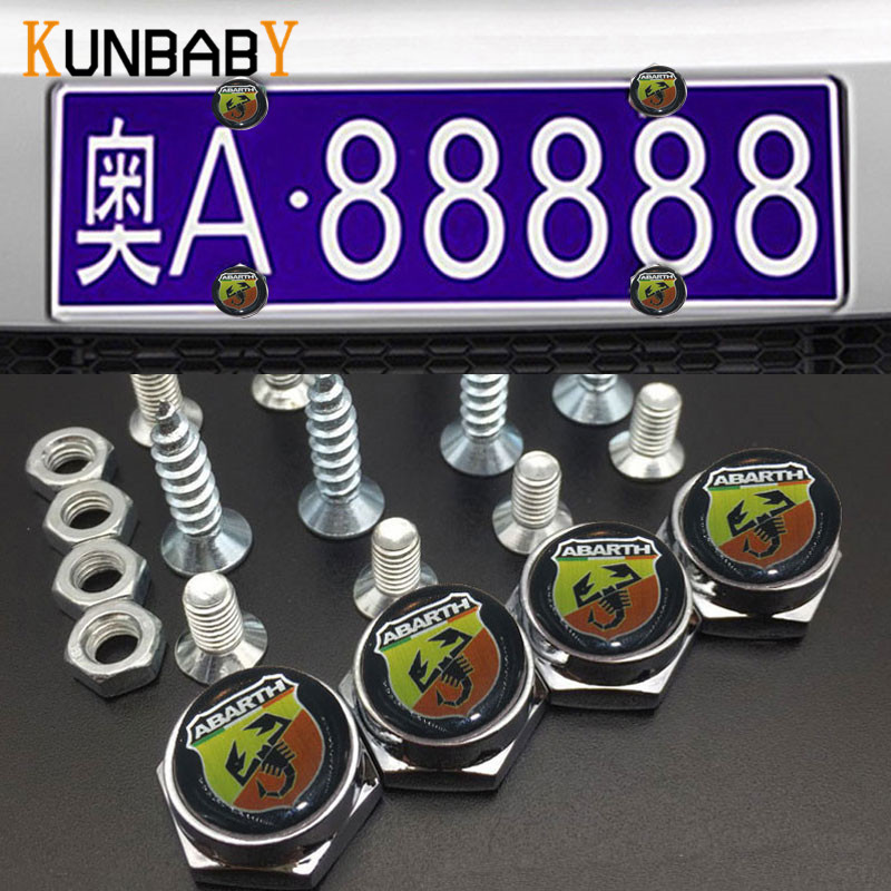 KUNBABY 4PCS Car Accessories Thread License Plate Frame Bolts Universal Screws Chrome For Fiat abarth punto 500 Car Styling