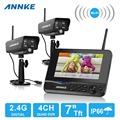 "ANNKE 4CH WIFI DVR Security CCTV IP Camera System Digital Wireless Surveillance Kit Baby Monitor 7"" TFT LCD +2 Cameras"
