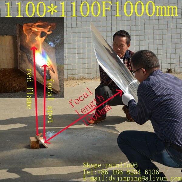 Grande formato 1100*1100mm lunghezza focale 1000mm lente di fresnel pieno og groove passo con 4 angoli Solare concentratore di lente a energia solare