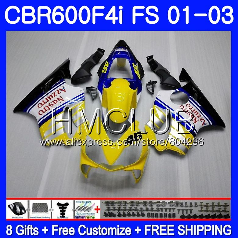 Body For HONDA CBR600F4i CBR600FS CBR600 F4i 01 02 03 61HM 10 CBR 600 F4i  600 FS CBR 600F4i Yellow white 2001 2002 2003 Fairing