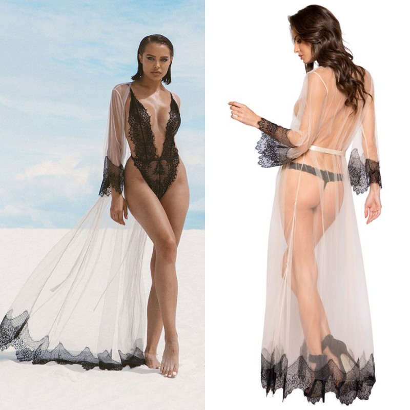2020 See Through Night Robe Long Sleeves Lace Sexy Party Sleepwear Custom Made Floor Length Nightgowns Robes