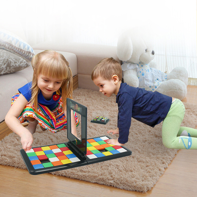 Puzzle Cube 3D Puzzle Race Cube Board Game Kids Adults Education Toy Parent-Child Double Speed Game Magic Cubes 3