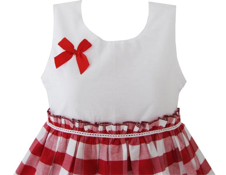 Girls Dress Red Tartan Sundress Kids Clothing Cotton 2019 Summer Princess Wedding Party Dresses Clothes Size 4-10