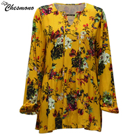 Chesmono Yellow Boho Blouse 2017 Autumn Floral Print Blouses Vinatge V Neck Long Sleeve Bohemia Women