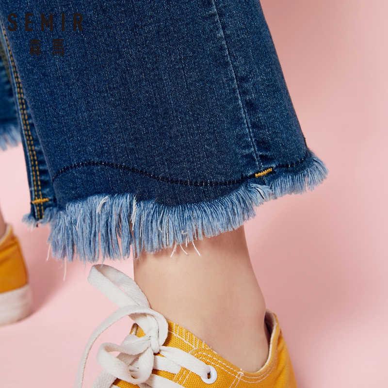 SEMIR женские джинсы с завышенной талией с необработанными краями, женские джинсы с потертостями в ретро-стиле