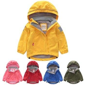 95abfbef322f M96 Весна-осень-зима детская Толстая флисовая подкладка куртка одежда с  капюшоном для мальчиков