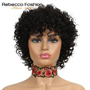 Rebecca Short Loose Curly Wigs For Black Women Peruvian Remy Bouncy Curly Human Hair Wigs 10 Color Free Shipping