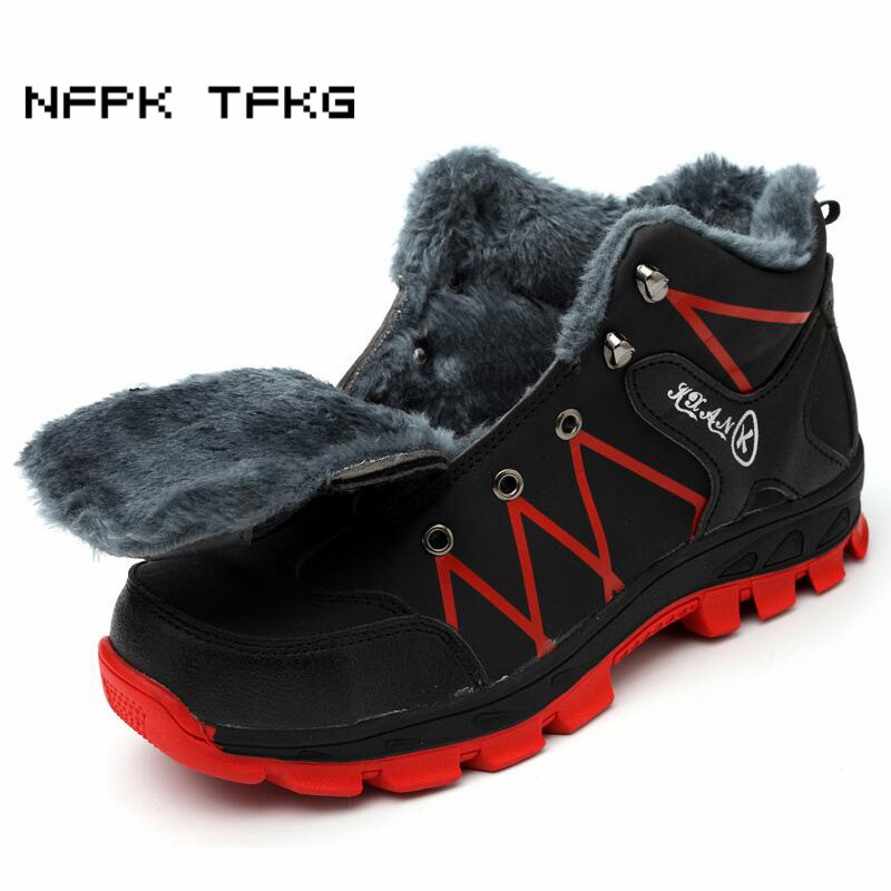big size men fashion winter cotton-padded shoes warm plush cow leather martin ankle tooling security snow boots protect footwear цена