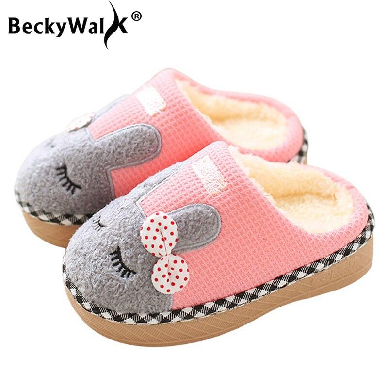 BeckyWalk Kids Slippers Winter Children Home Slippers
