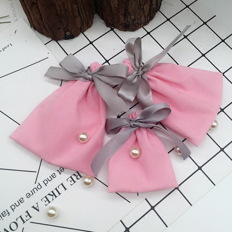 7x9 10x12cm Pink Velvet Bags With Gray Ribbon Jewelry Wedding Gift Pouches BOUTIQU Gift Bags Packaging Necklace Earring
