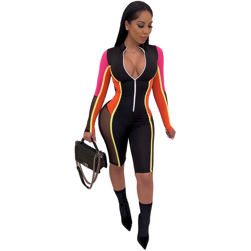 Biker Short Splicing Playsuit Womens Streetwear Front Zipper Romper Women Long Sleeve Shorts Jumpsuit Bodycon Rompers Overalls