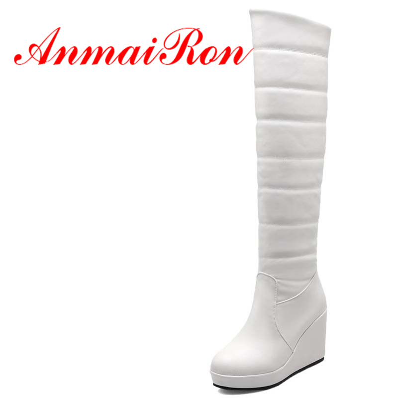 ANMAIRON Knee-High boots wedges Round Toe High boots for women Winter White Red platform warm snow boots casual long Boots hot platform bowkont flocking snow boots