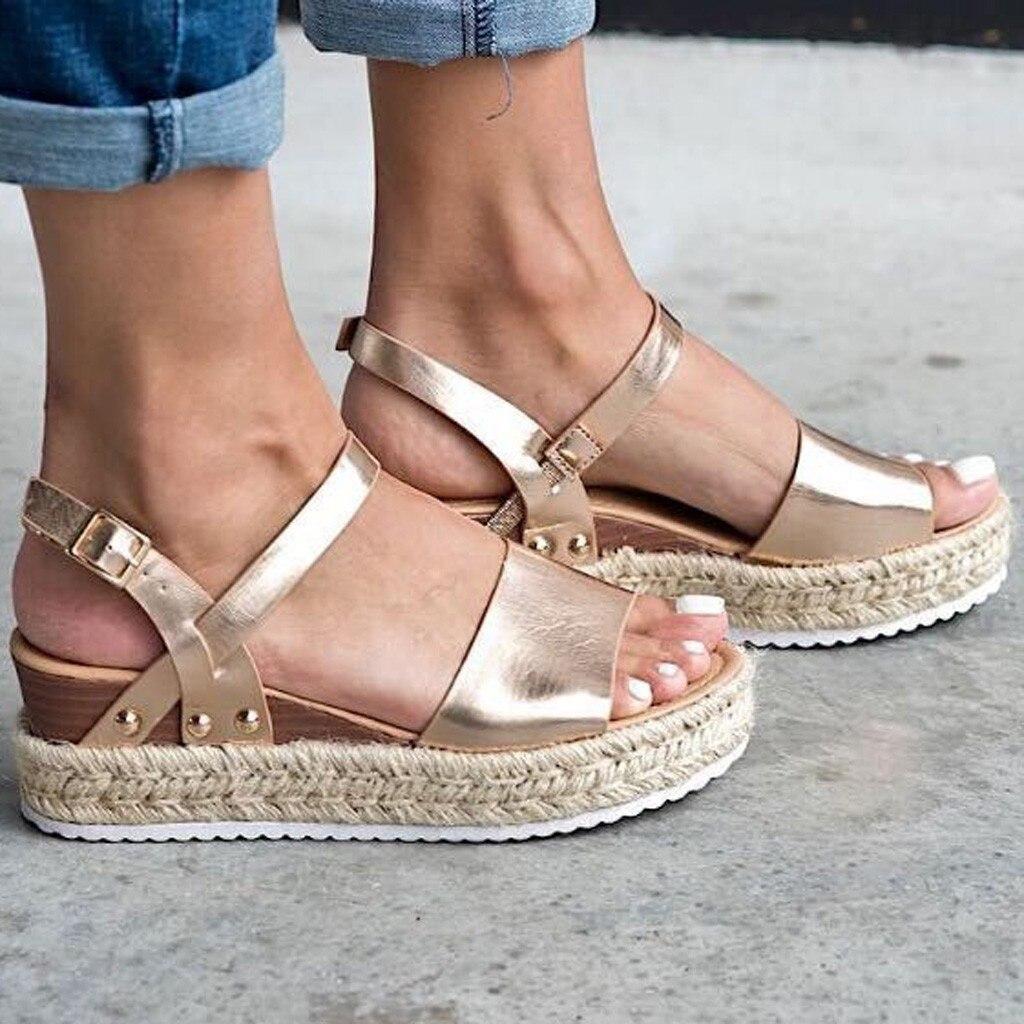 Gold Sandal Wedges Buckle-Strap Platform Hemp Gladiator Peep-Toe Fashion Women Summer