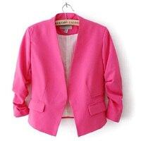 2017 Hot Sale Small Suit Women Without Buckle Blazers Jacket Female Wholesale Bubble Sleeves Blazer Slim