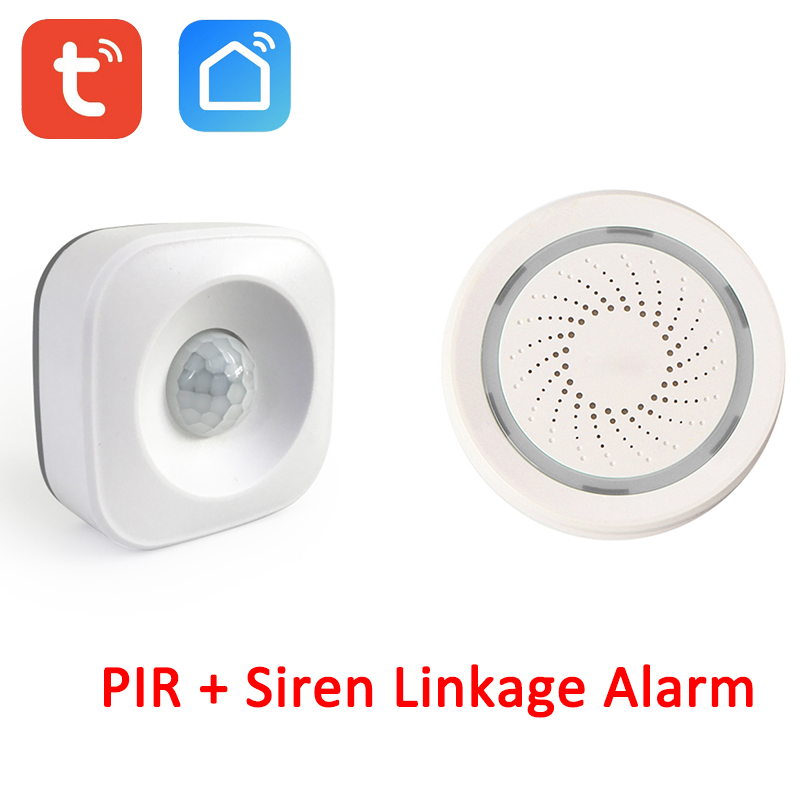 100DB Smart Wireless WiFi 100DB Siren Tuya Smart Life PIR Motion Sensor Scenario Automation System
