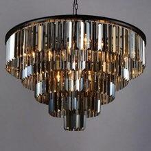 Moderno lustre de cristal elegante k9 tamanho do artigo de cristal cinza esfumaçado cristal suspensão lamparas para café re
