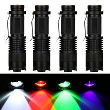 Linterna táctica CREE LED UV, luz violeta de 395nm, púrpura/verde/rojo/blanco, con zoom, para pesca, caza, Detector