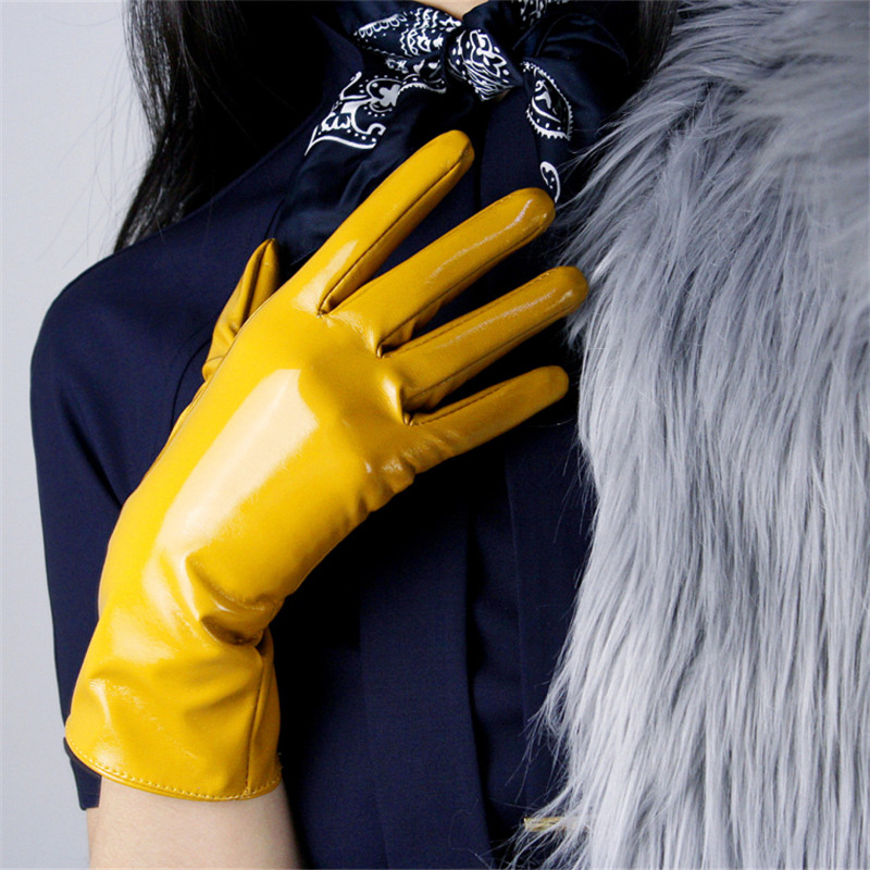 28cm Patent Leather Gloves Warm Medium And Long Section Emulation Leather Bright Black Lined Bright Yellow Ginger Yellow WPU89