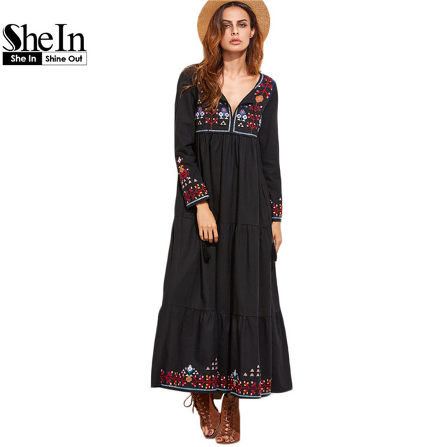 SheIn Boho Длинные Dress Осень Повседневные Платья для Женщин Черный Вышивка V Шеи Fringe Подробно С Длинным Рукавом Vintage Dress