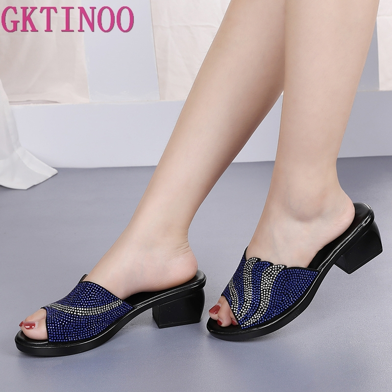 GKTINOO Summer Platform Slippers Rhinestone Soft Surface Thick Heel Shoes Mother Womens Leather Breathable SandalsGKTINOO Summer Platform Slippers Rhinestone Soft Surface Thick Heel Shoes Mother Womens Leather Breathable Sandals