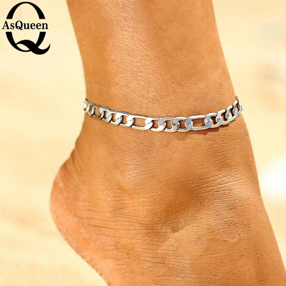 anklets item women charms stainless charm from titanium leg bracelets plated for flower ankle in sexy bracelet halhal jewelry foot anklet stamped chain silver with steel fashion