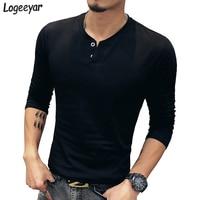 2016 New Brand T Shirts Fashion V Neck Solid Men T Shirt Casual Long Sleeve Slim