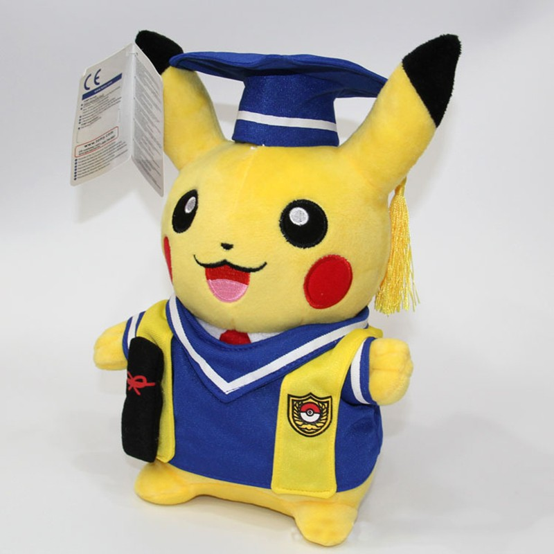 Kawaii Graduation Pikachu Cos Pokeball Cloth Plush Toys Soft Stuffed Animal Dolls for Children\'s Gift 13inch 32cm 2 Styles (10)