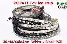 WS2811 led strip 5m 30/48/60 leds/m,10/16/20 pcs ws2811 ic/meter,DC12V White/Black PCB, 2811 led strip Addressable Digital