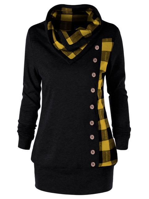 Cowl Neck Single Breasted Button Embellished Hoodies Sweatshirt
