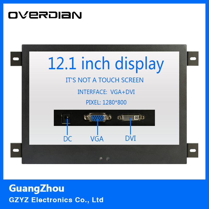 12/12.1Inch VGA/DVI Interface Metal Shell Hanger Installation Industrial Control Lcd Monitor TFT Type 16:10 Non-touch Screen