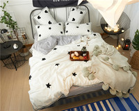 Spot And Five Pointed Star Pattern Washed Cotton Bedding Set Wool Embroidery Duvet Cover Bed Sheet