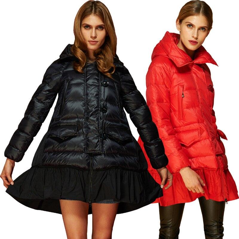 (Lord Fur)Autumn Winter Women Down Parkas Coats Jacket with Hoody 80% Duck Down Lady Warm Outerwear Overcoat Cloak 3XL 1258