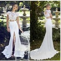Praia 2017 Vestidos de Casamento Bainha Cap Mangas Chiffon Rendas Fenda aberto Para Trás Do Vestido de Casamento Vestido de Noiva vestido de Noiva Vestido De Noiva