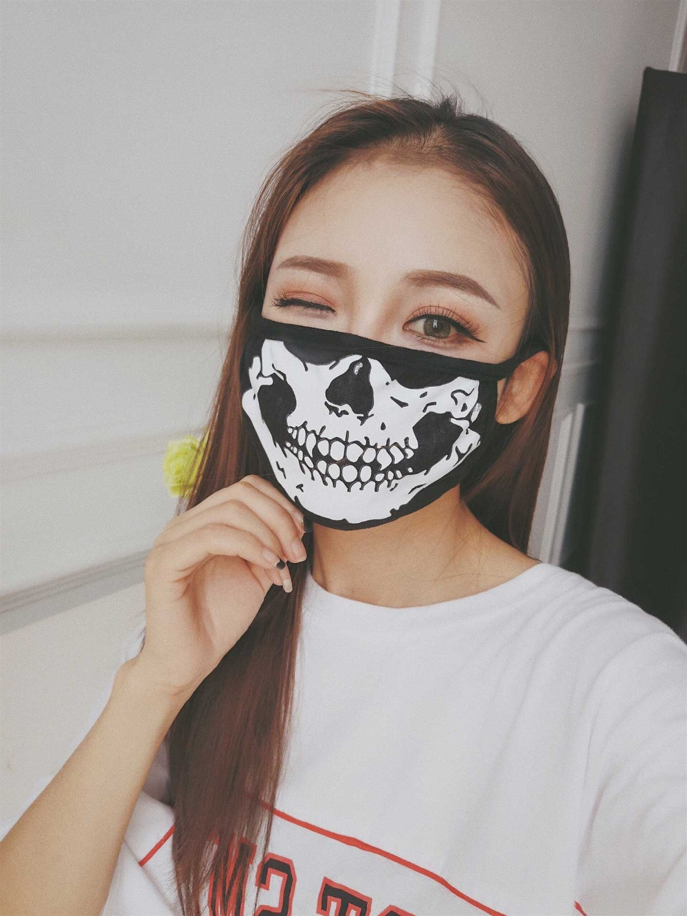 1PCS Cotton Dust Proof Mouth Face Mask Skull Cartoon Lucky Bear Women Men Muffle Face Mouth Masks