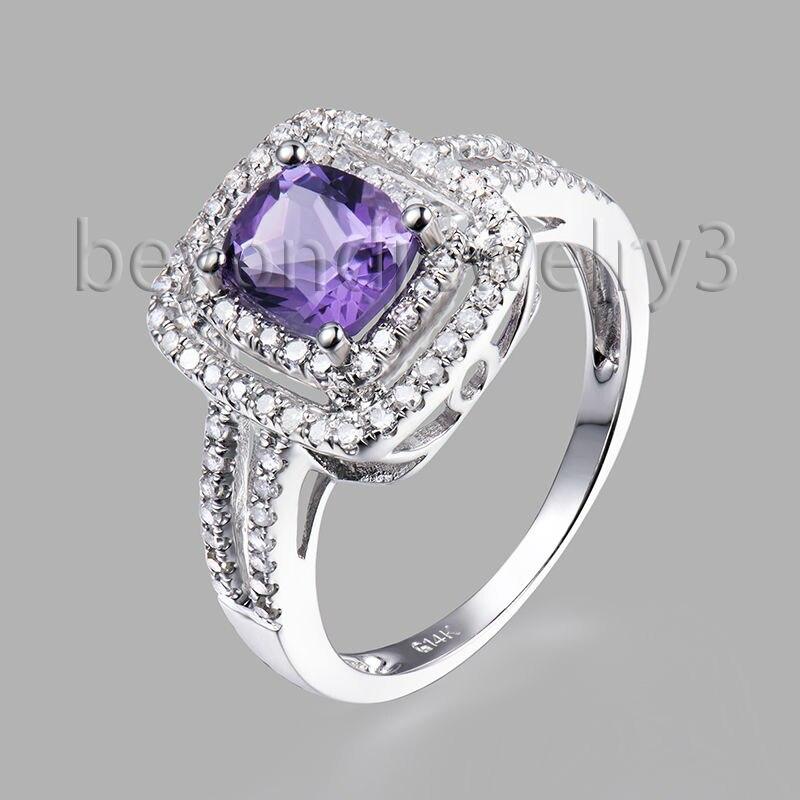 Подлинная природный аметист Обручение кольцо, Фиолетовый аметист и diamond в 14 К белого золота Кольца с полудрагоценными камнями для продажи