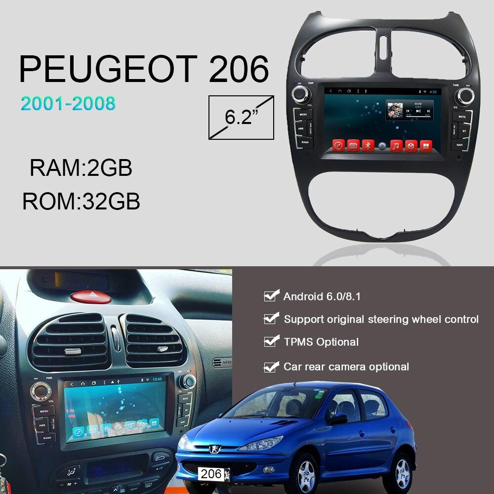 Android 6.0 8.1 Octa Núcleo gps navegação dvd cd player para Peugeot 206 rádio FM 2002 2003 2004 2005 2006 2007 2008 carro de som